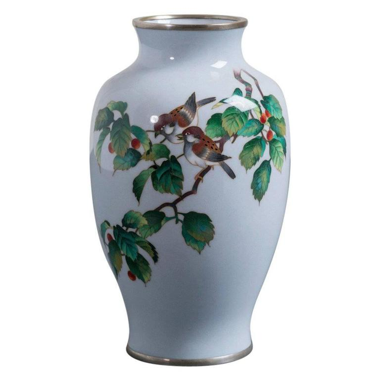Japanese Cloisonné Enamel Vase from the Showa Period