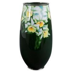 Japanese Cloisonné Green Enamel Vase, circa 1970