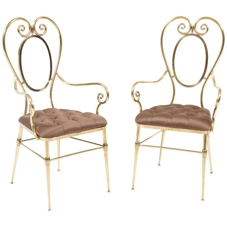 Pair of Brass Chairs with Silk Upholstery, Italy, circa 1950 For Sale