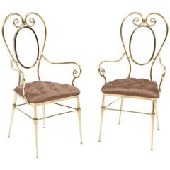 Pair of Brass Chairs, C 1950, Silk Upholstery, Italy