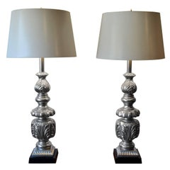 Pair of Large Hollywood Regency Silver Painted Ornate Table Lamps, Italy