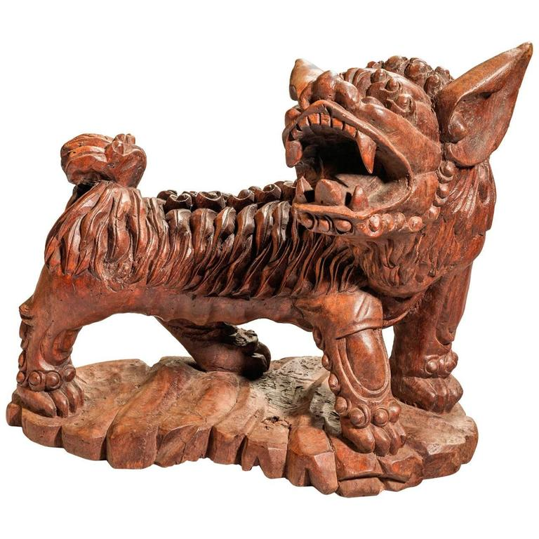 Late 19th Century Carved Wooden Dog