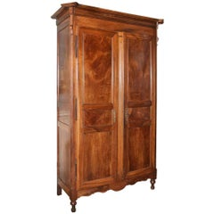 19th Century French Walnut Armoire with Wet Bar