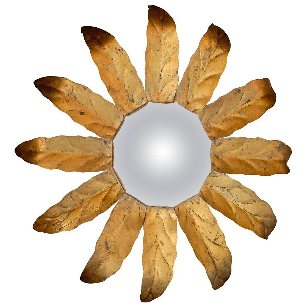 1940s Spanish Sunburst Mirror with Darkened Gilt Metal Leaves and Convex Glass