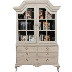 Swedish 1810 Baroque Painted Wood Cabinet with Glass Doors and Five Drawers