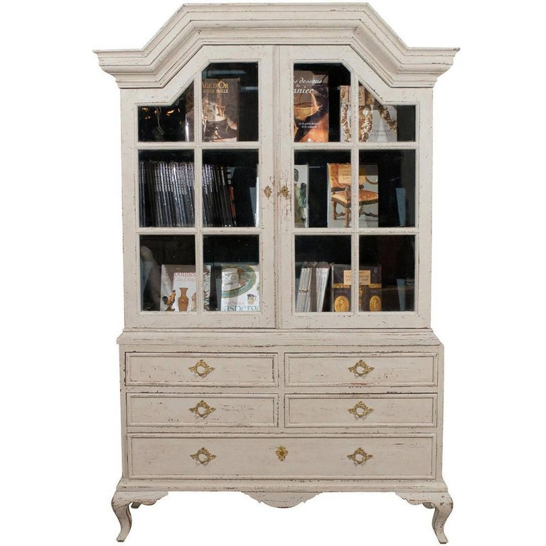 Swedish 1810 baroque painted wood cabinet with glass doors for Wood doors on painted cabinets