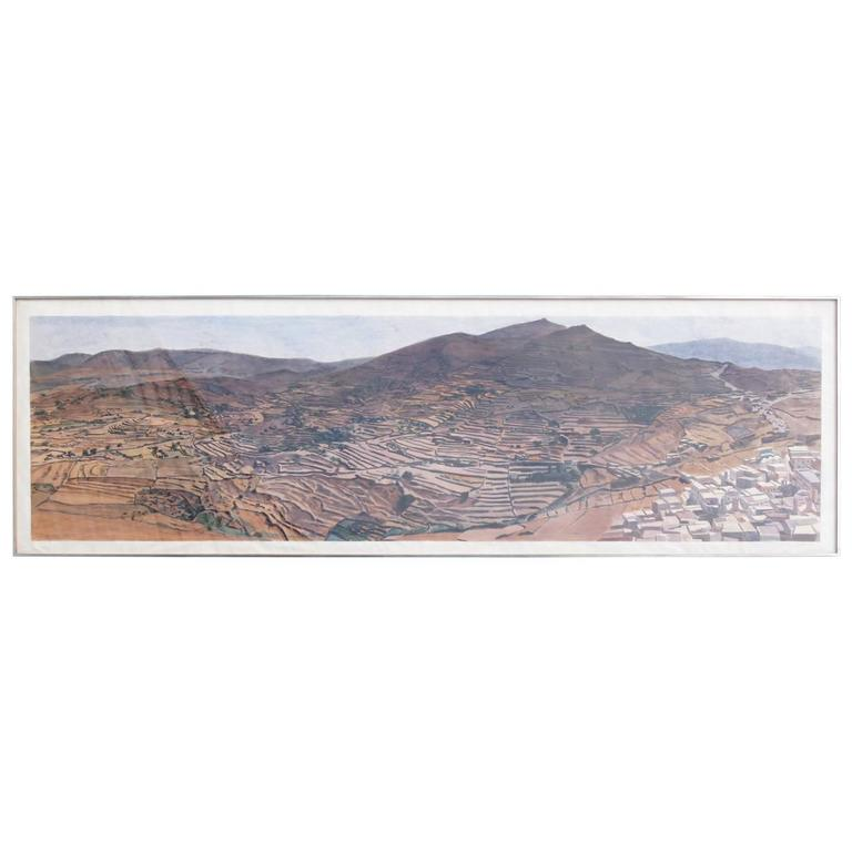 Susan Shatter, Large-Scale Watercolor of the Greek Island of Ios, 1975