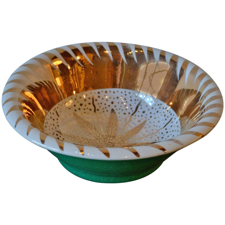Waylande Gregory Gilt Gold, White and Green Ceramic Bowl, circa 1940s
