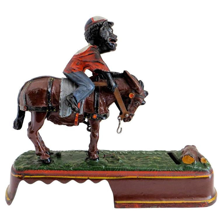 "Mechanical Bank ""I Always Did 'Spise a Mule"" Jockey over Variation, Near Mint"