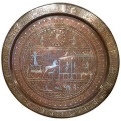 Egyptian Revival Copper and Silver Charger with Hieroglyphics