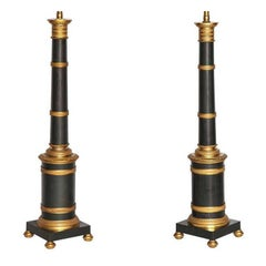 Pair Gilt and Patinated Metal Banded Column Lamps