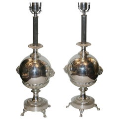 Pair of Neoclassic Silver Table Lamps