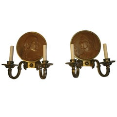 Pair of Neoclassic Sconces with Terracotta Medallions