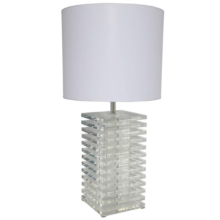 Giant 1970s Stacked Lucite Table Lamp