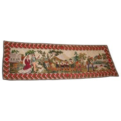 Early 20th Century Needlepoint Runner Depicting Austrian Figures