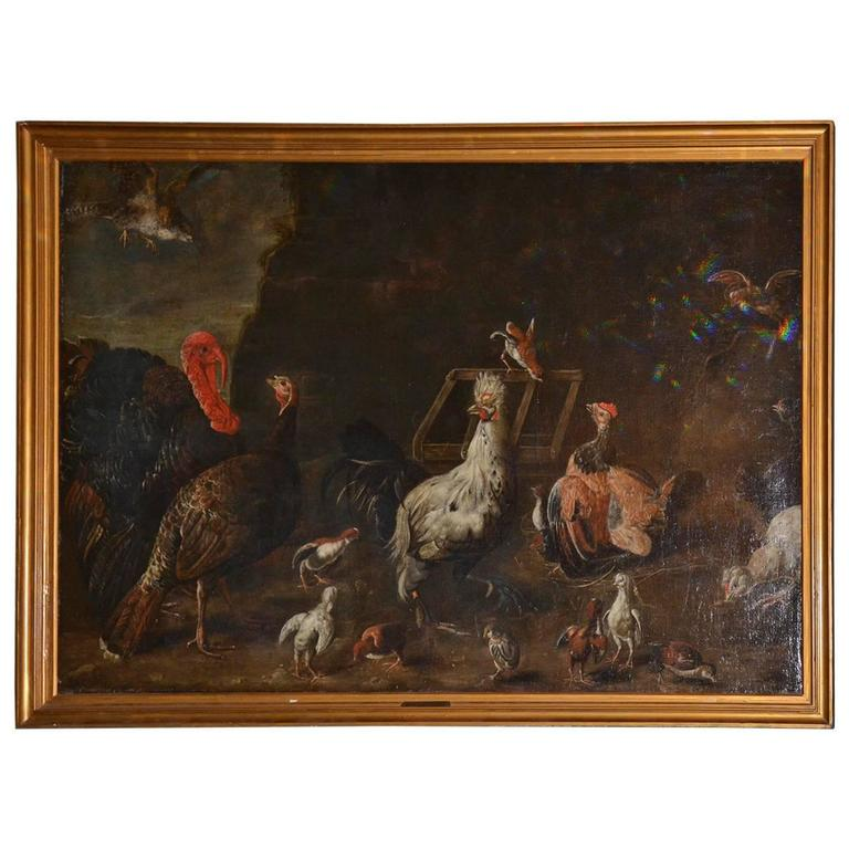 """""""Turkey and Other Fowl in a Yard"""" Framed Painting For Sale"""