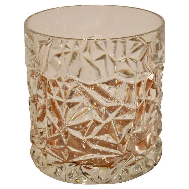 "Mid-Century Modern ""Rock Cut"" Crystal Ice Bucket by Tiffany & Co."