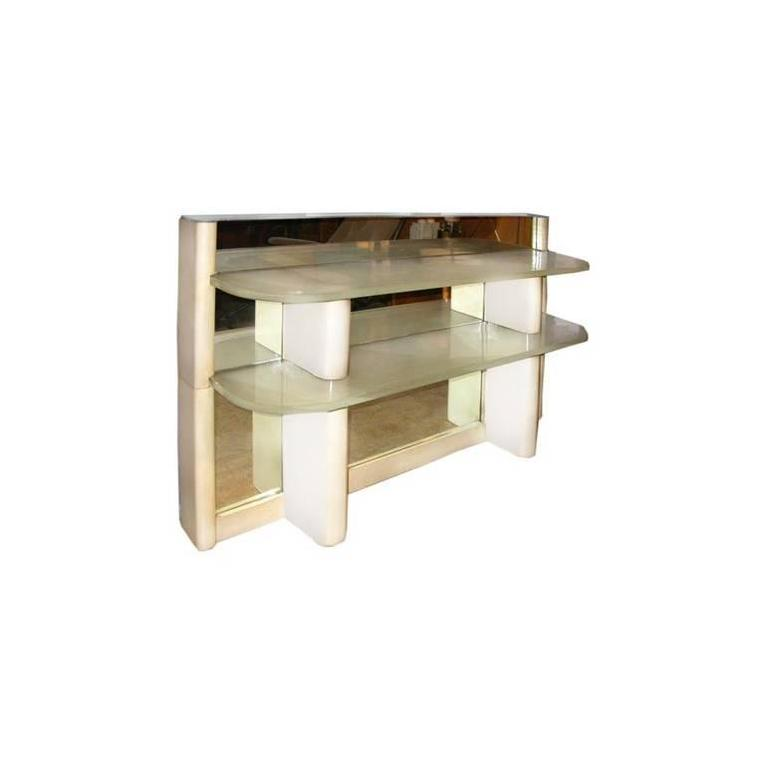 Jacques adnet parchment and mirror wall tag re for sale for Miroir etagere