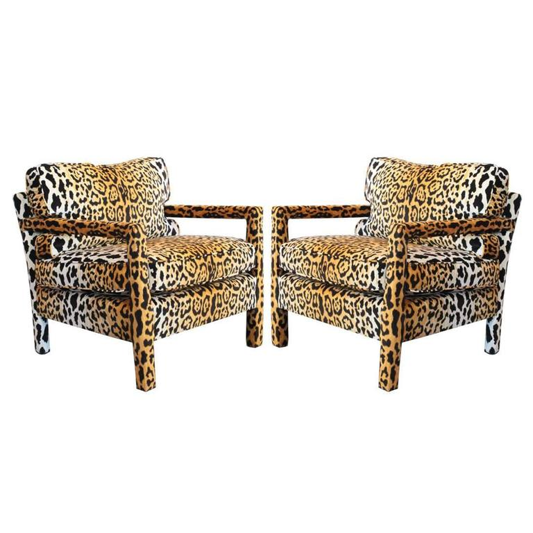 Ordinaire Pair Of Leopard Parson Chairs In The Style Of Milo Baughman, Custom For Sale