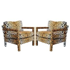 Pair of Leopard Parson Chairs in the Style of Milo Baughman, Custom