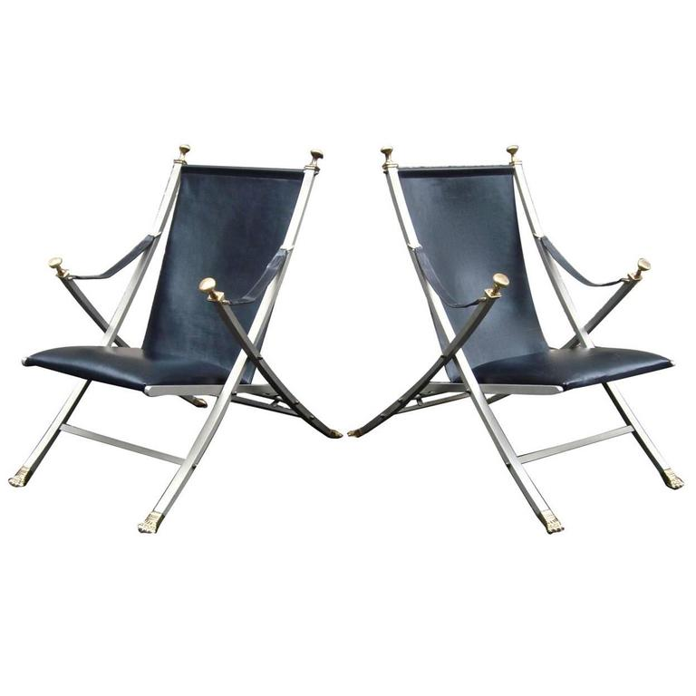 Fabulous Pair of 1960s Steel and Leather Italian Campaign Chairs