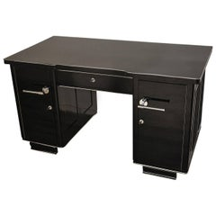 Black Art Deco Desk with Leather Applications