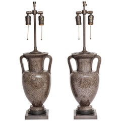 Pair of Italian Grand Tour Porphyry Urns Converted into Lamps, Early 1800s