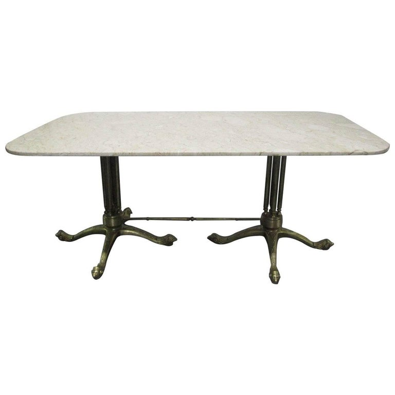 Brass and Marble-Top Dining Table in the Style of Maison Jansen
