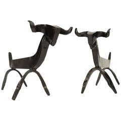 Pair of 1940s Wrought 'Aries' Iron Andirons by Edouard Schenck