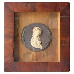 Miniature Bas-Relief Wax Portrait of Woman, 18th Century