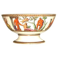 Furnival's English Polychrome Ironstone Footed Punchbowl