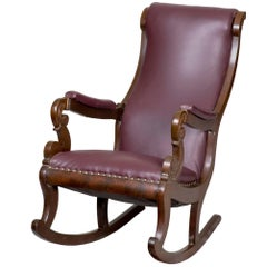 Classical Mahogany Rocker with Carved Scrolled Arm Supports