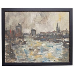 "French Oil Painting ""Port de la Rochelle"""
