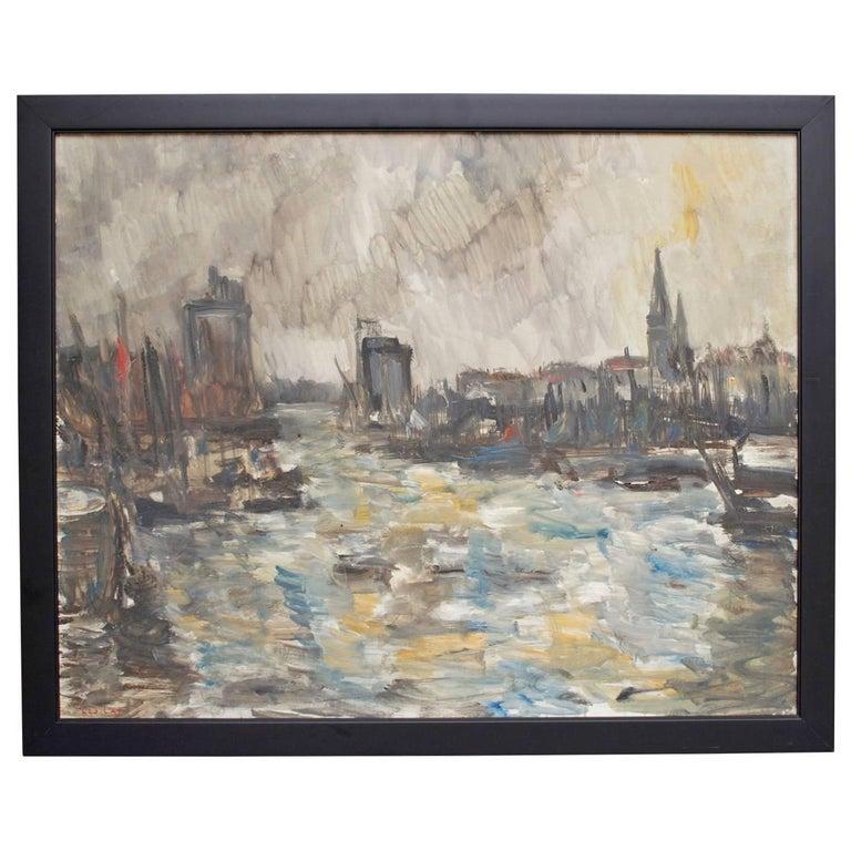 """French Oil Painting """"Port de la Rochelle"""" For Sale"""
