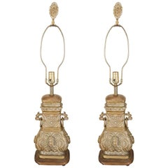 Pair of Bronze Chinese Lamps with Wood Bases