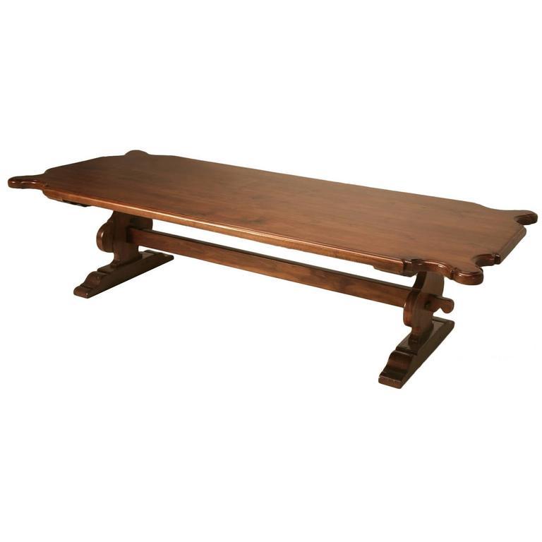 Italian Farm Table Made from Huge Planks of Solid Mahogany