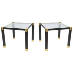 Pair of American Modern Brass and Ebonized Glass Top Tables, Karl Springer