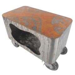 Industrial Modern Service Cart in Copper and Steel