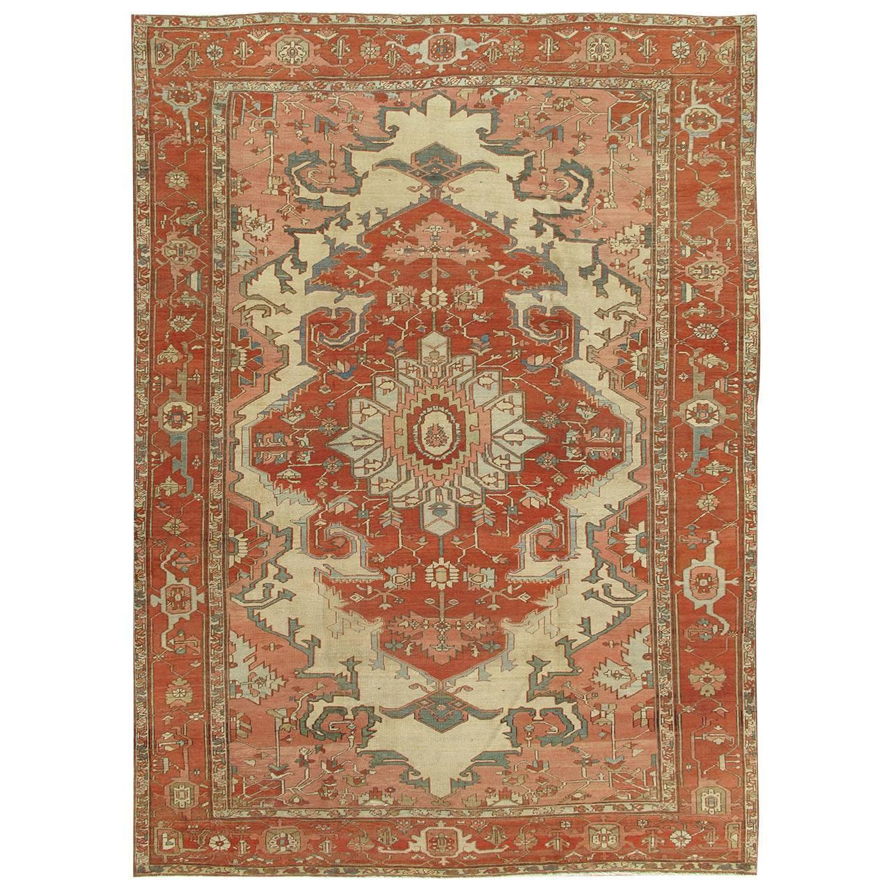 Chinese Rug Dealers: Antique Persian Serapi Carpet, Ivory Hand-Knotted Wool