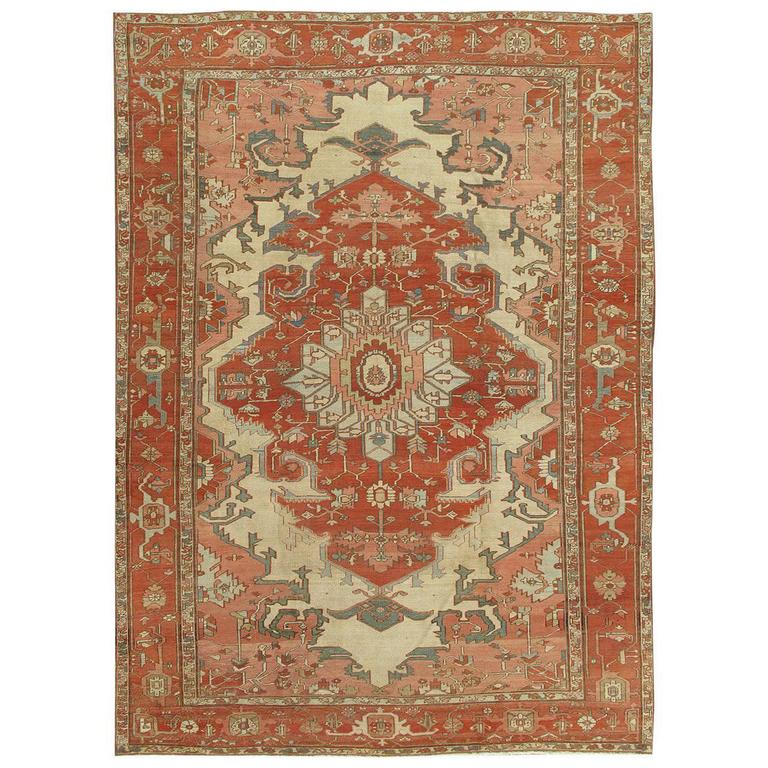 Persian Rugs For Sale: Antique Persian Serapi Carpet, Ivory Hand-Knotted Wool