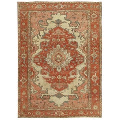 Antique Persian Serapi Carpet, Ivory Hand-Knotted Wool Oriental Rug