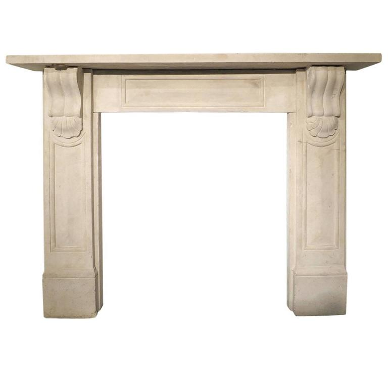 antique 19th century english stone fireplace mantel for