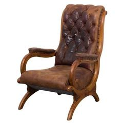 Chair Lounge Swedish Mid Century Leather Brown Sweden