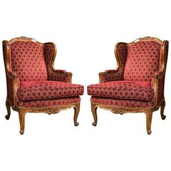 Pair of Louis XV Style French Bergere Chairs