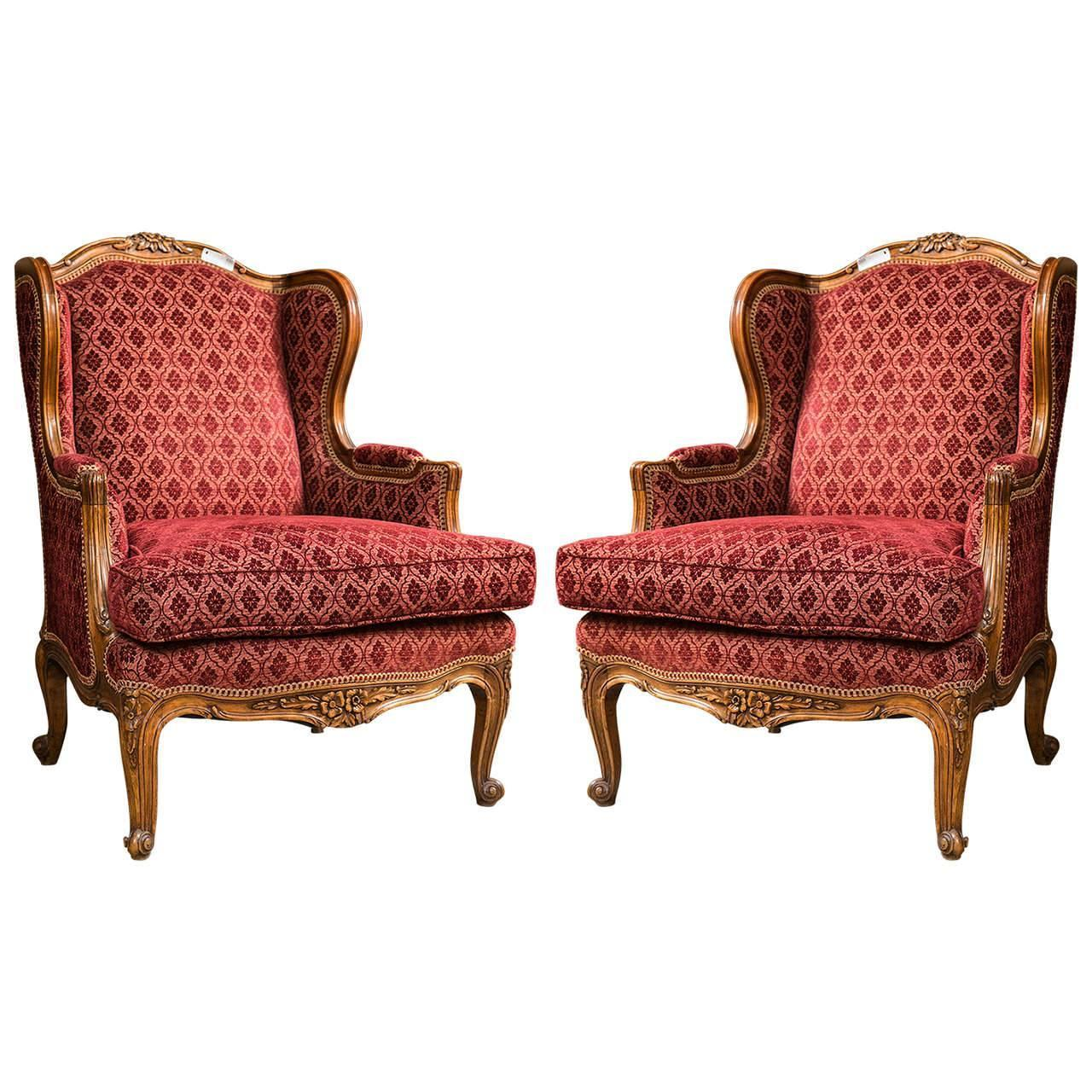 Pair of Louis XV Style French Bergere Chairs For Sale at