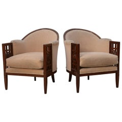 Fine Pair of French Art Deco Mahogany Chairs, Paul Follot