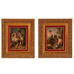 Pair of KPM Porcelain Plaques After Murillo