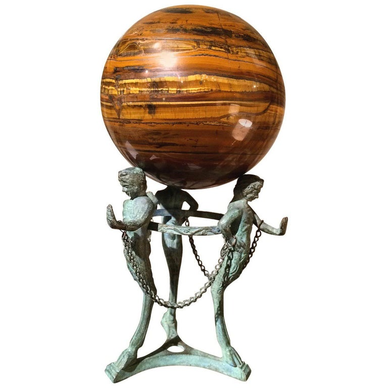 Grand Tour Neoclassical Bronze Tripod Stand with Agate Orb For Sale