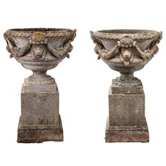 Pair of Lion Mask Urns