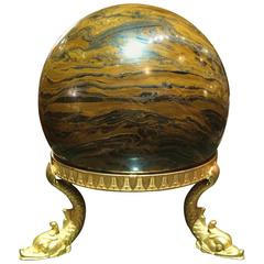 Neoclassical Tripod Dolphin Bronze Stand with Orb